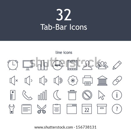 Tab bar line icons for web and mobile devices - stock vector