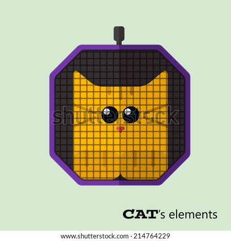 Tabby cat in pet carrier travel. Eps10 - stock vector