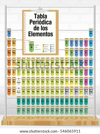 TABLA PERIODICA DE LOS ELEMENTOS -Periodic Table of Elements in Spanish language- consisting of test tubes with the names of each element and new elements: Nihonium, Moscovium, Tennessine, Oganesson