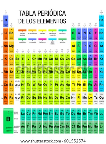 Tabla periodica de los elementos periodic stock vector 601552574 tabla periodica de los elementos periodic table of elements in spanish language with the urtaz Gallery