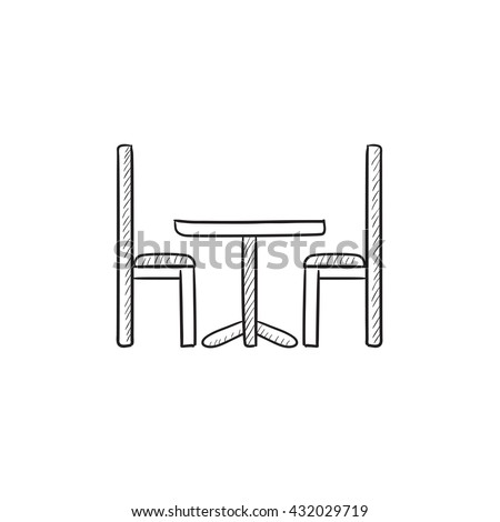 Table and chairs vector sketch icon isolated on background. Hand drawn Table and chairs icon. Table and chairs sketch icon for infographic, website or app. - stock vector
