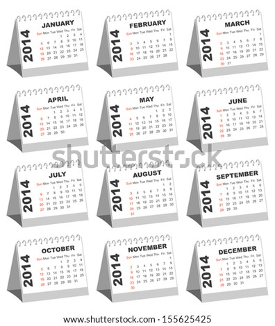 Table Calendars for 2014 - stock vector