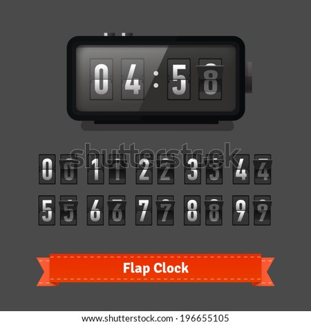 Table flap clock and number counter template plus all numbers with flips. Highly editable EPS10. - stock vector