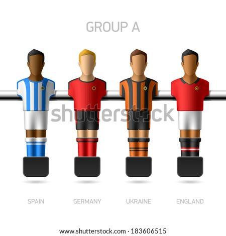Table football, foosball players. European football championship, Group A - Spain, Germany, Ukraine, England. Vector. - stock vector