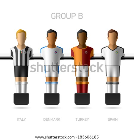 Table football, foosball players. European football championship, Group B - Italy, Denmark, Turkey, Spain. Vector. - stock vector