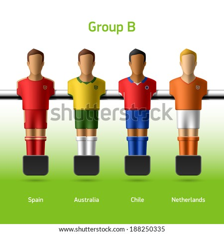 Table football / foosball players. World soccer championship. Group B - Spain, Australia, Chile, Netherlands. Vector. - stock vector