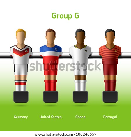 Table football / foosball players. World soccer championship. Group G - Germany, United States, Ghana, Portugal. Vector. - stock vector