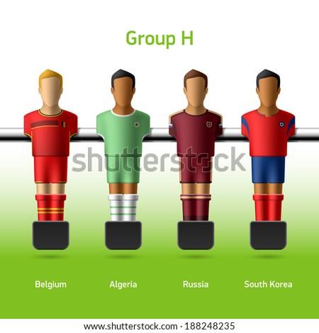 Table football / foosball players. World soccer championship. Group H - Belgium, Algeria, Russia, South Korea. Vector.  - stock vector