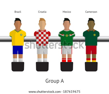 Table football, soccer players. Group A - Brazil, Croatia, Mexico, Cameroon. Vector illustration. - stock vector