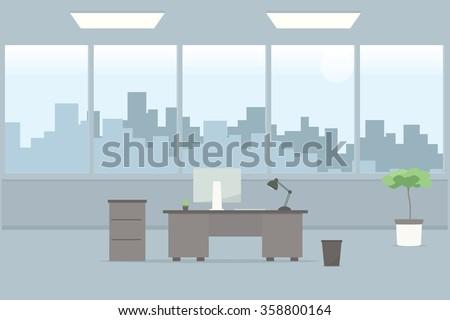 Table Empty Office Room Stock Vector 358800164 Shutterstock
