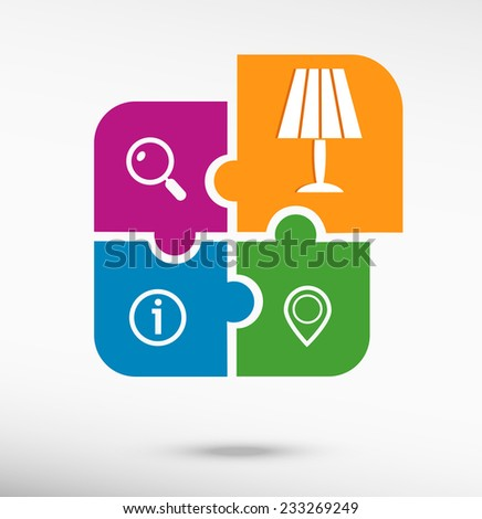 Table lamp icon on colorful jigsaw puzzle  - stock vector