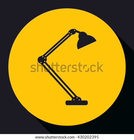 Table lamp.  Modern desk lamp vector icon.