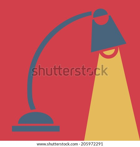 Table-lamp, vector, flat icon (from set Back to school) - stock vector