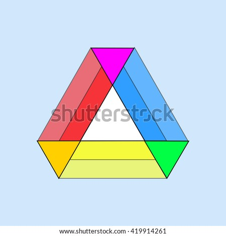 table of colored triangles on a blue background - stock vector