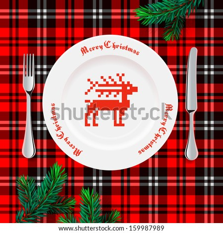 Table setting for Christmas dinner, vector illstration.  - stock vector
