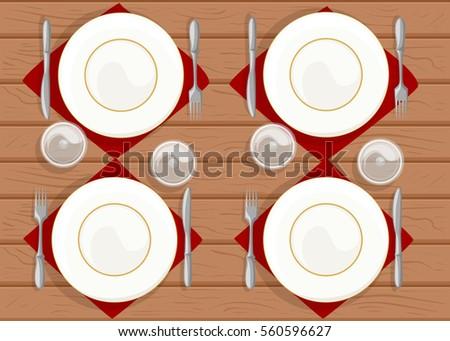 Table Setting Restaurant Plates Fork Spoon Stock Vector 560596627 ...