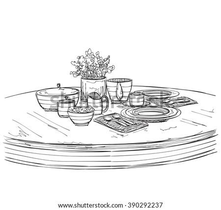 Table setting set. Weekend breakfast or dinner.  sc 1 st  Shutterstock & Table Setting Set Weekend Breakfast Dinner Stock Vector HD (Royalty ...