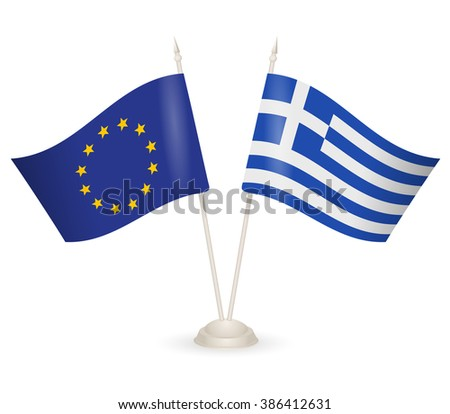 Table stand with flags of Greece and European Union. Symbolizing the cooperation between the two countries. flag icons. Two flag vector. flag pole.  - stock vector
