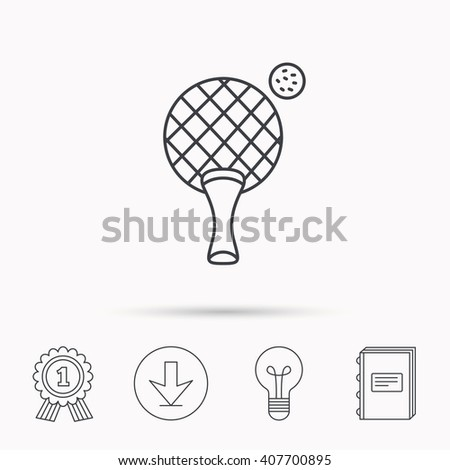Table tennis icon. Ping pong sign. Professional sport symbol. Download arrow, lamp, learn book and award medal icons. - stock vector