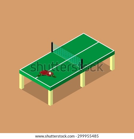 table tennis, ping pong. Isometric - stock vector