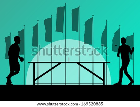 Table tennis player silhouette ping pong vector background in front of flags