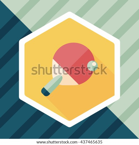 Table tennis racket flat icon with long shadow,eps10 - stock vector