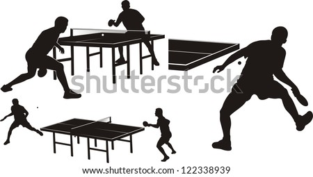 table tennis - silhouettes - stock vector