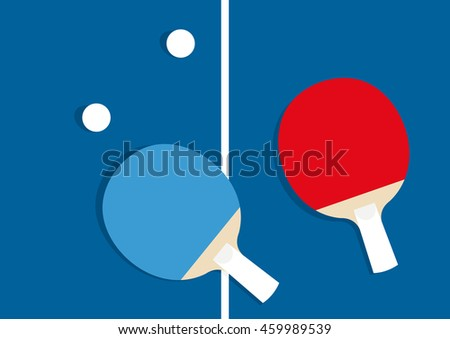 Table tennis vector illustration. Ping-pong rackets and balls