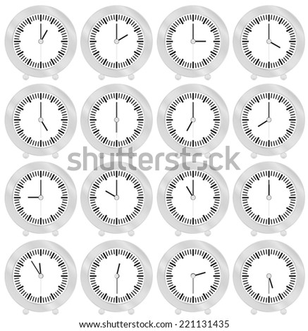 Table watch with different time indication  - stock vector