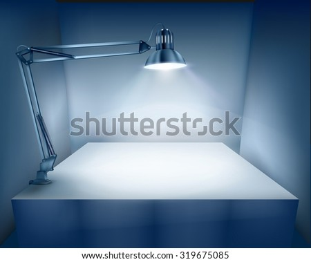 Table with a desk lamp. Vector illustration. - stock vector
