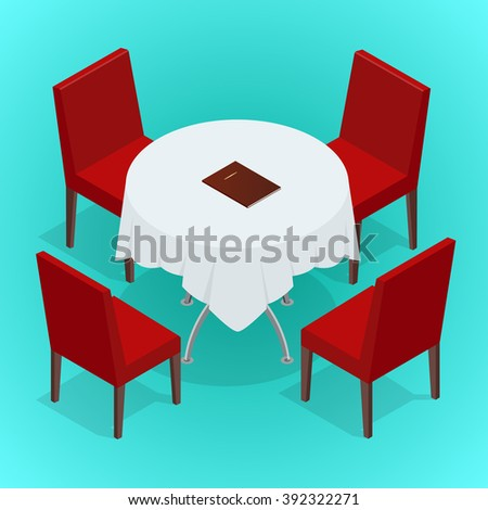 Table with chairs for cafes. Modern table and chairs on white background. Flat 3d isometric vector illustration.  - stock vector
