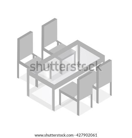 Table with chairs for cafes. Table with chairs icon. Glass table with chairs Modern. Table with chairs on white background. Table with chairs Flat. Table with chairs isometric. Vector illustration - stock vector