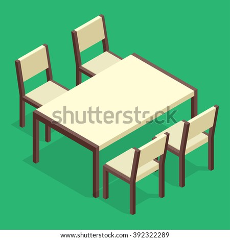 Table with chairs for cafes. Table with chairs icon. Table with chairs Modern. Table with chairs on background. Table with chairs Flat. Table with chairs isometric. Table with chairs vector
