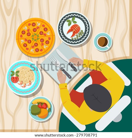 table with food view from above, flat style vector illustrations - stock vector