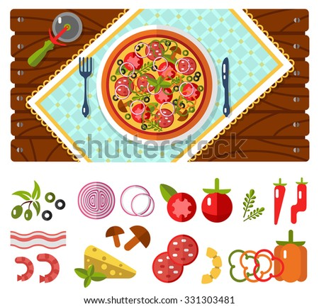 Table with pizza, knife and fork, tablecloths or napkins top view. Fast food. Pizza's ingredients - tomato, olive, onion, pepper, mushroom, shrimp, cheese, bacon, pineapple, sausage in flat design. - stock vector