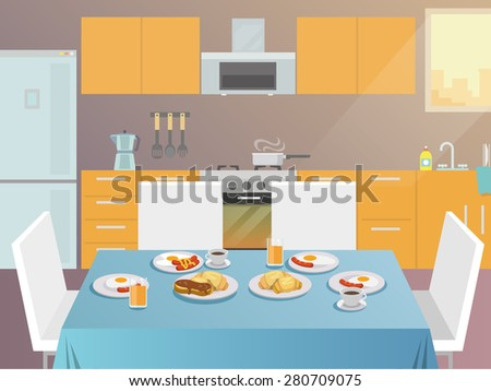 Table with served breakfast food and drinks flat vector illustration - stock vector