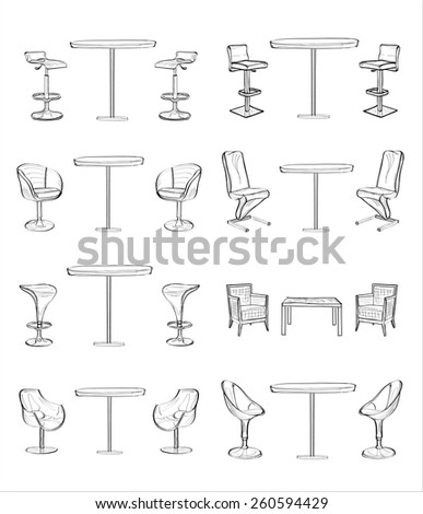 Tables And Chairs - stock vector