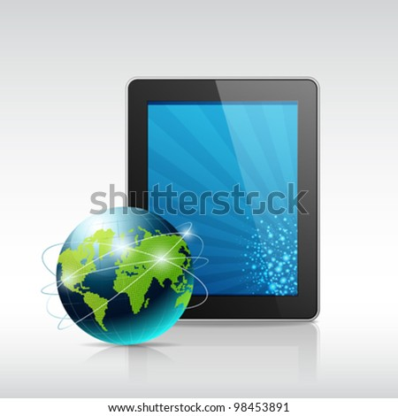 Tablet and blue globe, vector illustration - stock vector