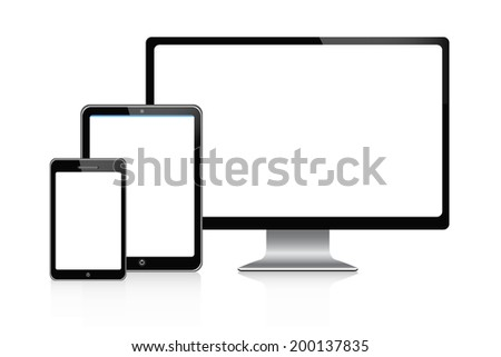 Tablet and desktop computers with white screen on a white background - stock vector