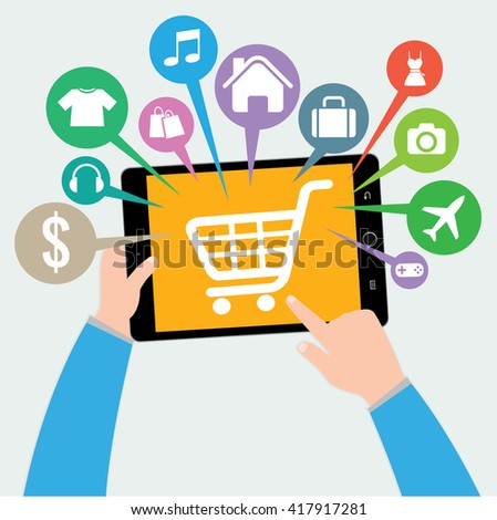Tablet and hand with basket online shop, e-commerce concept vector - stock vector