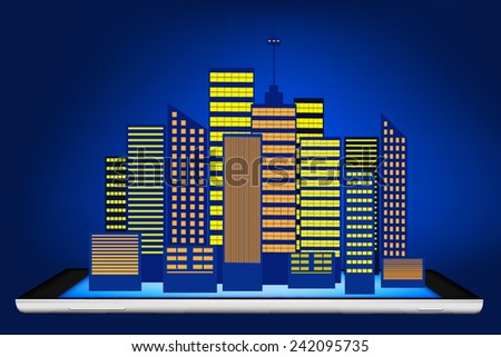 tablet and hologram building - stock vector