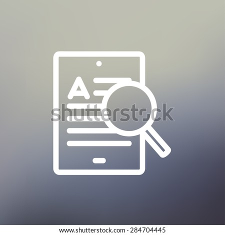 Tablet and magnifying glass searching network icon thin line for web and mobile, modern minimalistic flat design. Vector white icon on gradient mesh background. - stock vector
