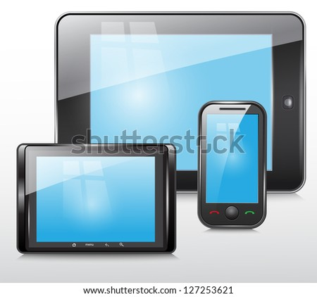 tablet and mobile phone icon , vector set - stock vector
