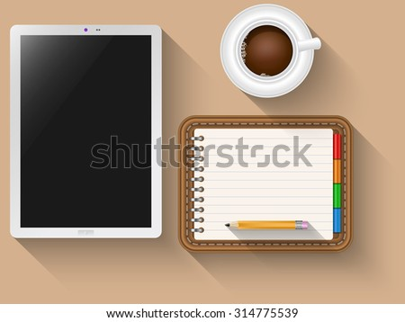 Tablet and notebook as a concept to creativity - stock vector