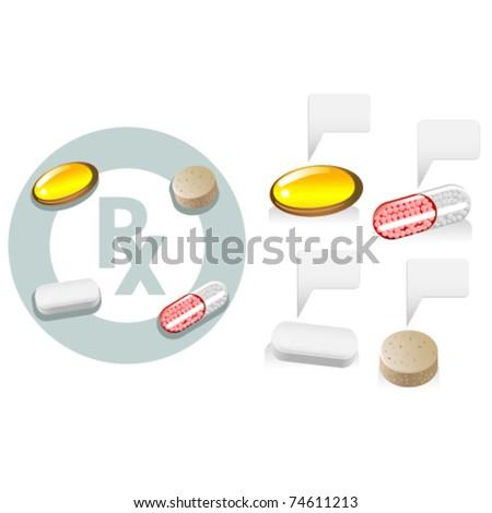 Tablet, capsule, softgel, caplet, Rx medicine and vitamins - stock vector