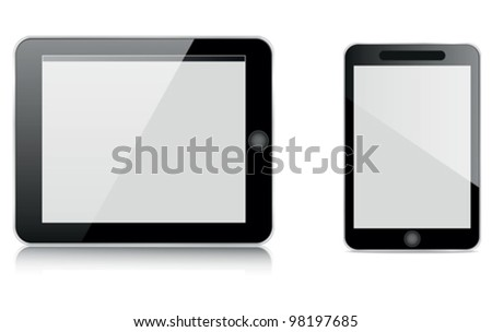 tablet computer and mobile - stock vector