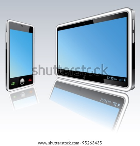 Tablet computer and mobile phone vector illustration - stock vector