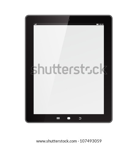 Tablet computer. Black frame vector tablet pc with white screen. . Object isolated of background. - stock vector