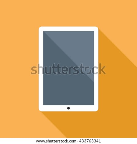 Tablet computer flat icon with blank display. Vector icon of a tablet computer in flat style with empty screen and long shadow. EPS8 clean vector illustration. - stock vector