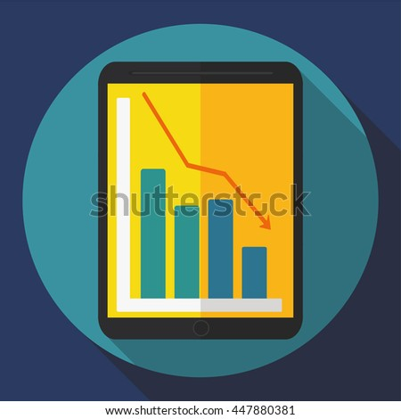 tablet computer icon. Flat style ( falling trend ) Vector graphics - stock vector